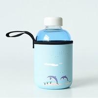 Fresh Sea Beach Pattern Handmade Glass Water Bottle With Storage Bag Cute Ice Water Bottle Morning