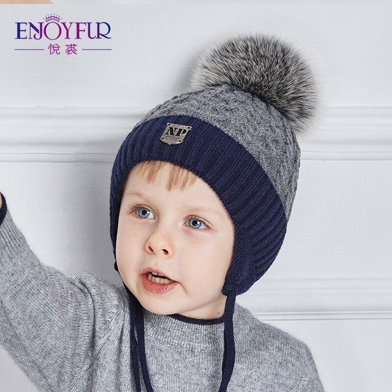 Enjoyfur Winter Dicke Warme Babymützen Mit Real Fuchspelz Pom Pom Jungen Caps Gute Qualität Kinder Hüte Für Winter Gestrickte Kinder Kappe Verkaufsrabatt 50-70%