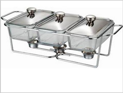 Three Sink Glass Buffet Dish Chafing Pot Catering Pot In