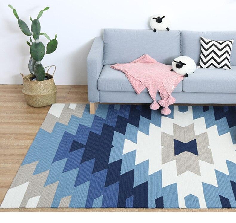 160*230 cm tapis géométrique nordique pour salon canapé tapis de table de thé avec tapis de chevet de chambre de style méditerranéen.