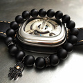 8mm Nature Black Matte Agate Beaded Bracelet Energy Stone Bracelet Hamsa Hand Bangle Charm Yoga Mala Bracelets With CZ Stoppers