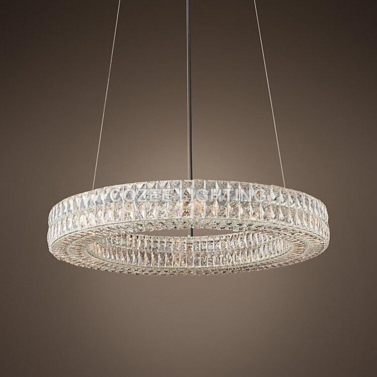 Modern Luxury K9 Candelabro de Cristal Do Vintage Rodada Iluminação Lustres Pingente Pendurado Luz de Vela de Cristal para a Decoração Home Hotel