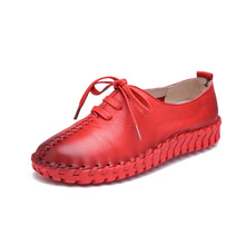 Women Shoes 2016 Handwork Genuine Leather Spring Autumn Flat Casual Shoes Women Pregnant Women Soft Bottom Shoes Flats