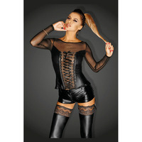 2 Pieces Exotic Apparel Women Sexy Set See Through Mesh Laces Up Bow Skinny Top Wet
