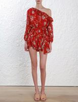 Women Corsair Iris Floral print Silk georgette Playsuit One shoulder Floral Playsuit Romper Long Sheer blouson Sleeves
