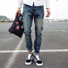 Summer new fashion trend male retro printing mid waist loose casual denim pants stylish scratched skull hip hop jeans men