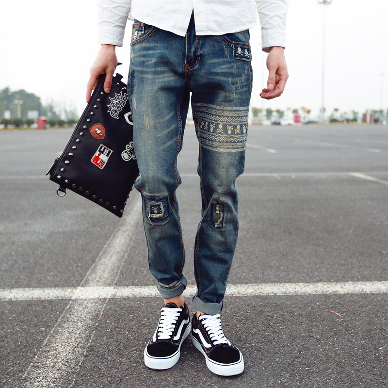 Mens Hip Hop Skull Jeans Fashion Retro Printing Mid Waist Loose Fit Style Scratched Personality