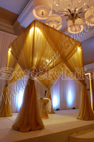 3M x 3M x 3M Gold square canopy drape with stainless steel Pipes Wedding Stage Decoration