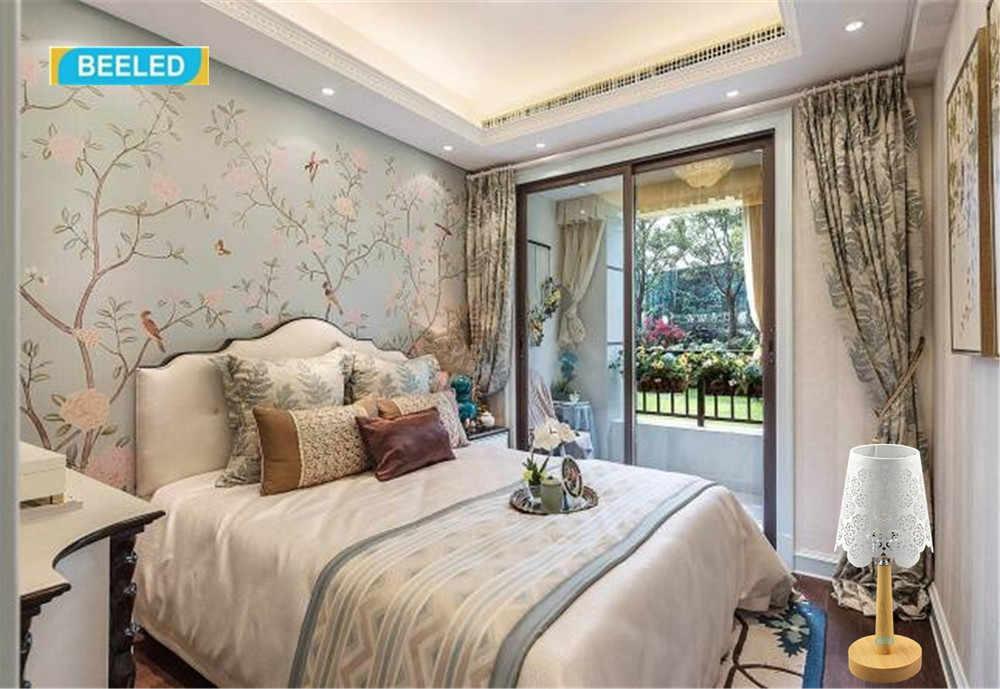 Настольные лампы для спальни, Ночной светильник, белый абажур, настольная лампа для гостиной, украшения для дома, для гостиной, деревянная лампа
