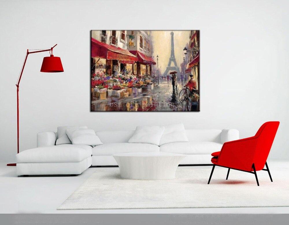 Dipinto a mano Aprile a Parigi Top Qualità di Riproduzione Arte Pittura di Paesaggio Pittura Decorativa della Tela di canapa di Pioggia in Vie Vernice