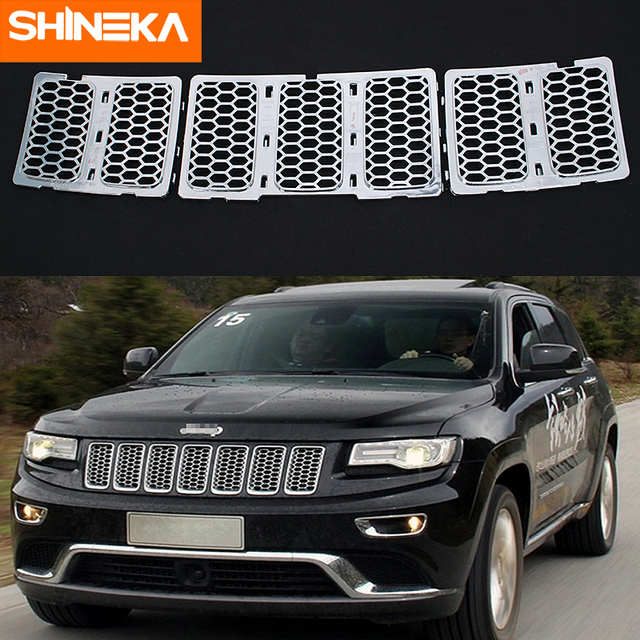 SHINEKA Racing Grills for Jeep Grand Cherokee 2014-2019+ Insert Mesh Vent Bezel Ring Outlet Exterior Styling for Grand Cherokee 6