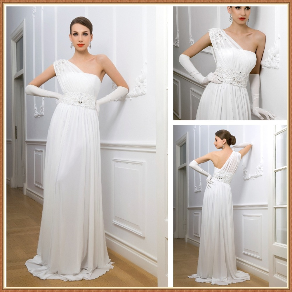 Grecian Style Wedding Gown: Elegant One Shoulder Maid Of Honor Chiffon With Luxury