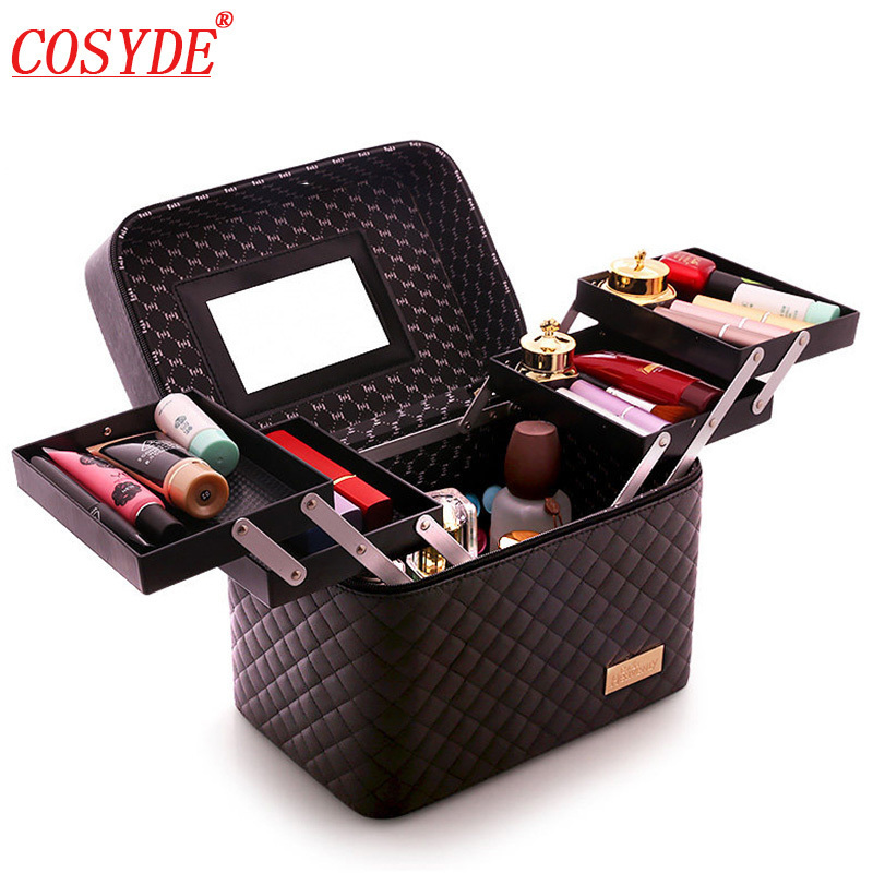 Large Capacity Professional Makeup Suitcase Women Multilayer Toiletry Cosmetic Bag Organizer Portable Beauty Case Storage Box