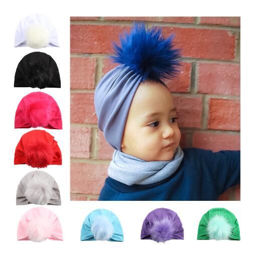 10pcs Newborn Hat Knitting Hat Bohemia India turban Hats Beanies Photography Props photo Gorro Fur Ball Cap