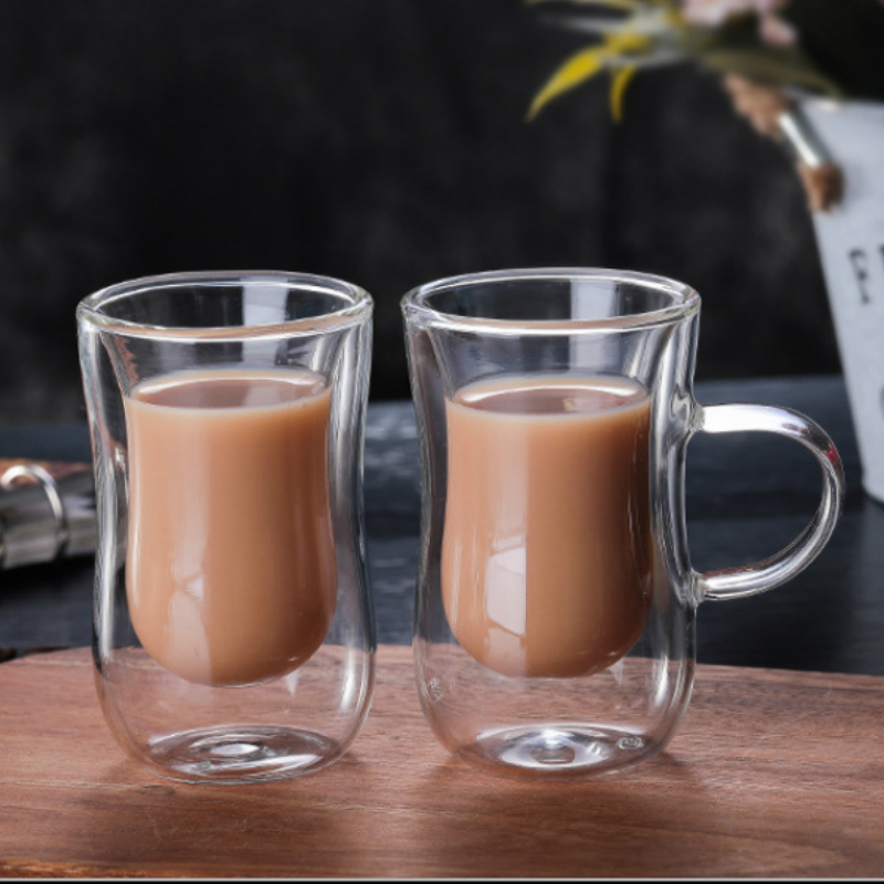 80ml European Double Coffee Mug Heat resistant Double Glass Cappuccino Cup Milk Cup Juice Cup New