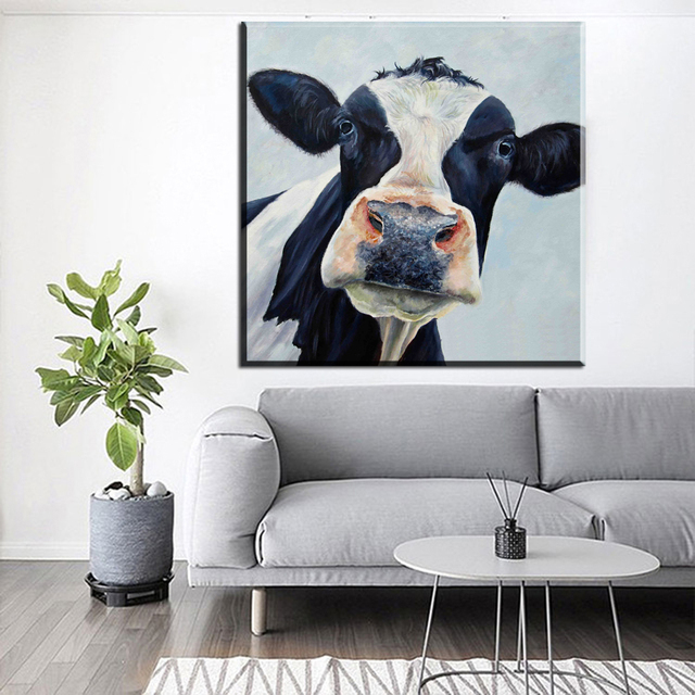 xdr187 Abstract Canvas Wall Art Picture Colorful Cow Animal Canvas ...