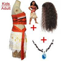 Princess Moana Dress Costume With Necklace Wig Girls Halloween Party Dresses Vaiana Moana Costumes Cosplay For