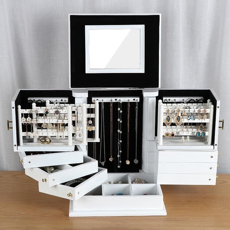 Nouvelles boîtes à bijoux en bois grande capacité bijoux en bois massif boucle d'oreille mallette de rangement ménage princesse style européen boîtes à bijoux