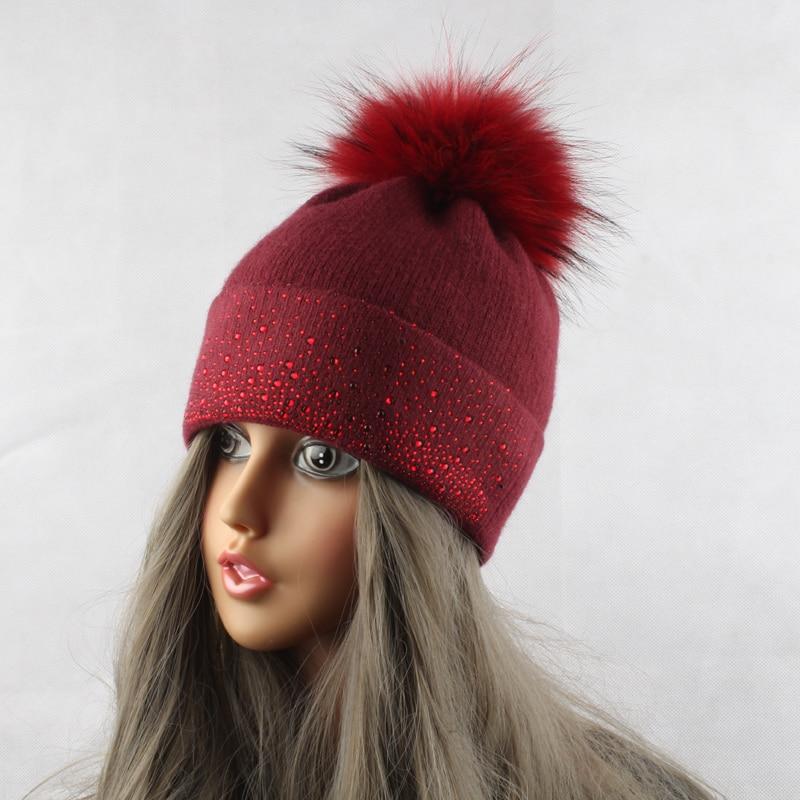 Mink iz rakunastega krznenega klobuka za ženske zimsko volneno - Oblačilni dodatki - Fotografija 5