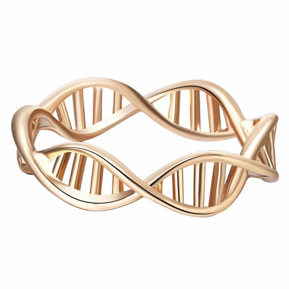 QIMING 3 stücke DNA Frauen Schmuck Sets Wissenschaft Chemie Kette Halskette Armband Charme Gold Ringe Silber Schmuck Beste Geschenk