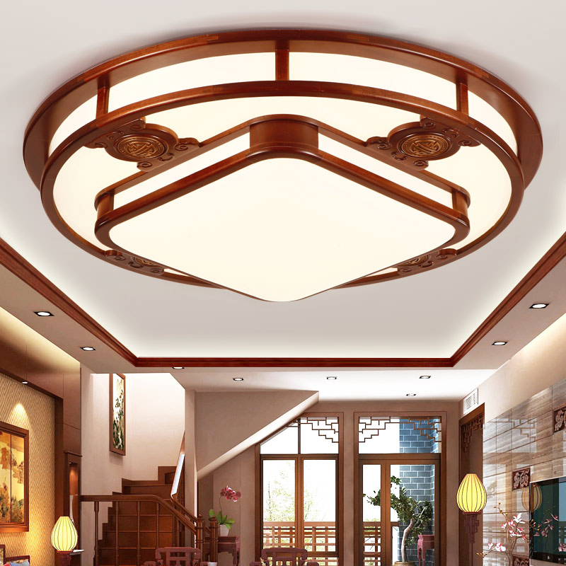 Chinese style living room ceiling lamp atmosphere solid wood dining room villa project lighting hall ceiling light wl4241423