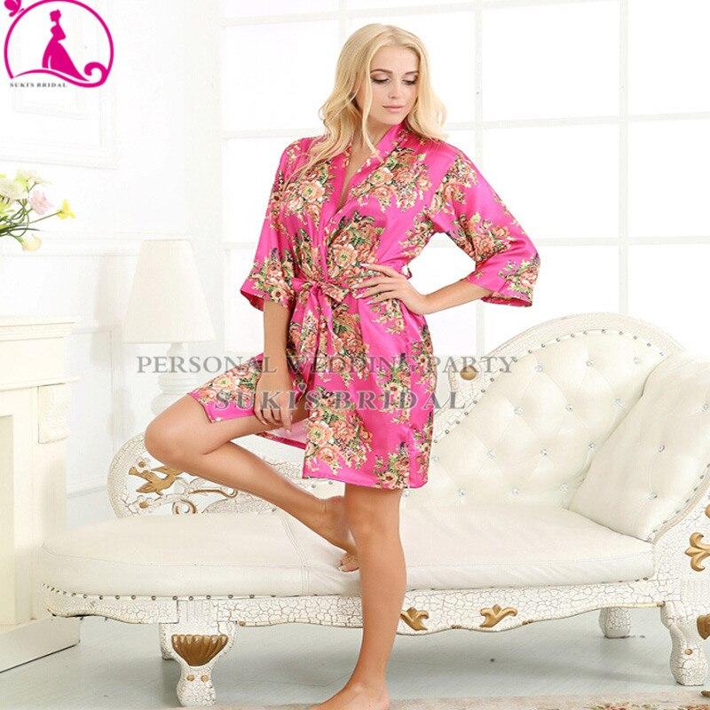 9 Colors New Kimono French Style Satin Printed Silk Pajamas Nightwear Robes  Bathrobe Printed Sleepwear-in Sleep   Lounge from Mother   Kids on ... 2abf7e9e6
