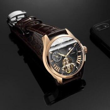 ORKINA Tourbillon Mechanical Watch Men Luxury Sapphire Crystal Luminous Hands Leather Band Automatic Wristwatch Reloj Hombre