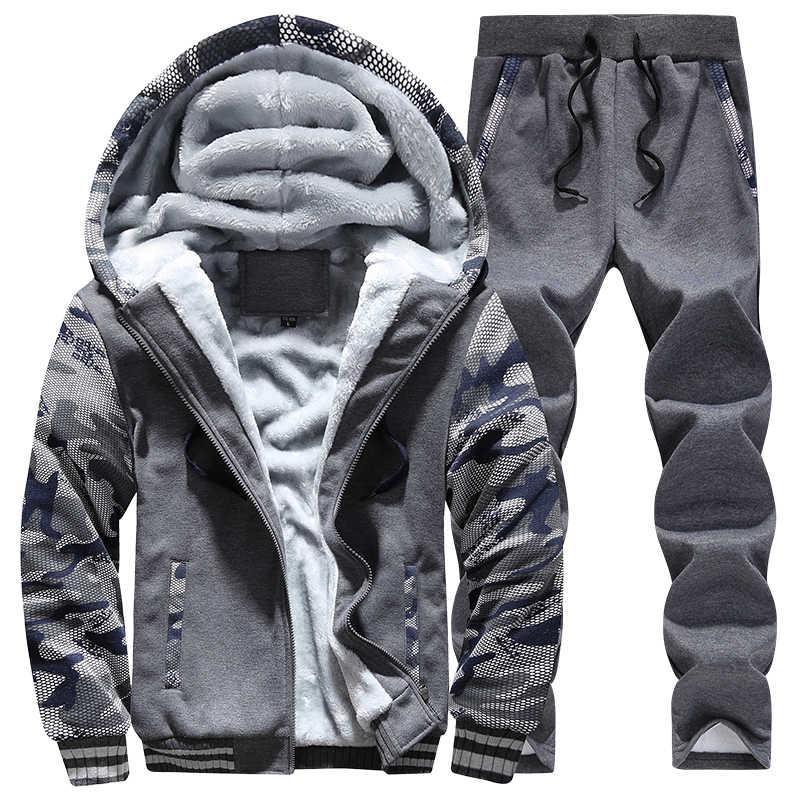 2 PC ジャケット + パンツ Moleton Masculino トラックスーツ男性の冬の迷彩パーカーカジュアルフード付きウォームスウェット男性厚みフリース
