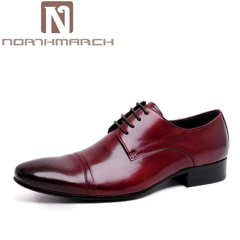 NORTHMARCH Luxury Handmade Lace Up Men Dress Shoes Genuine Leather Business Wedding Shoes High Quality Pointed Toe Men Flats new arrival high quality genuine leather men shoes lace up casual business shoes men wedding shoes fashion dress shoes size39 44