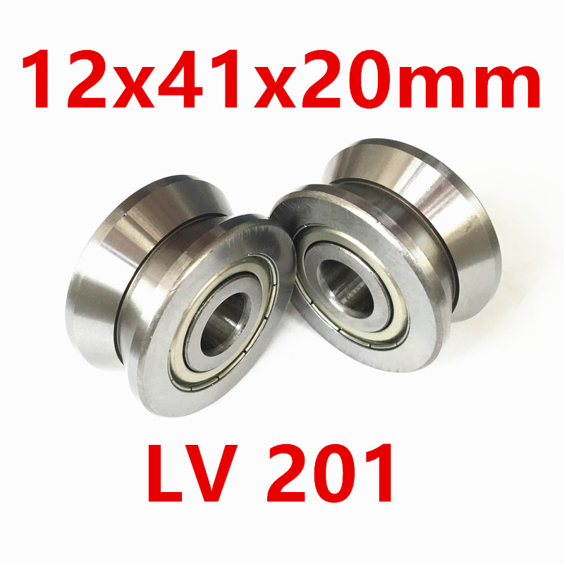 Free shipping LV201 V groove deep groove ball bearing 12x41x20mm Traces walking guide rail bearings ABEC5 free shipping 2pcs v625 90 v625zz v groove deep groove ball bearing 5x16x5mm pulley bearing