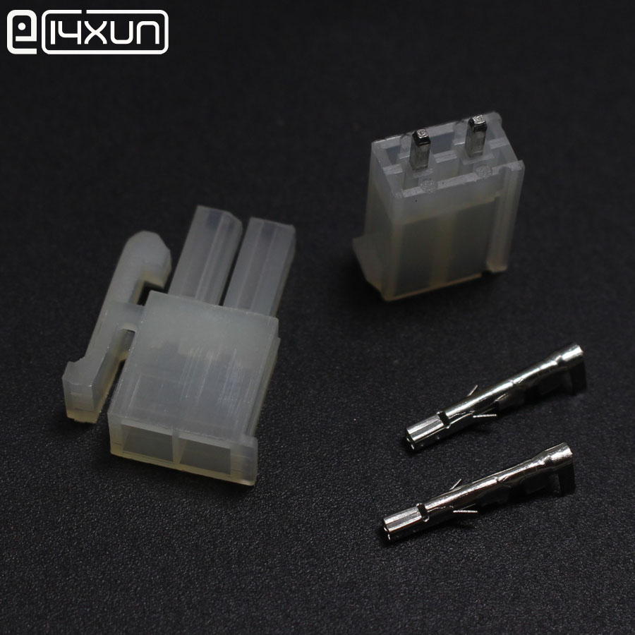 100sets <font><b>5557</b></font> 5569 2P Straight Pin Wire Terminals Electrical Connector <font><b>4.2mm</b></font> 2Pin Plug jack for Car Auto PC ATX image