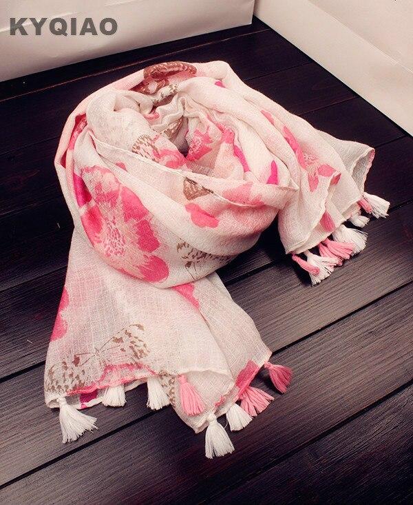 ab443a984f61 KYQIAO Femmes hijab écharpe de luxe marque femelle Espagne style bohème  romantique longue rose imprimé floral écharpe cape châle muffler wrap