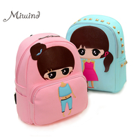 High Quality PU Leather Children Girls Mini Bag Cute Printing Anime Rivet Zipper 2016 Waterproof Dora