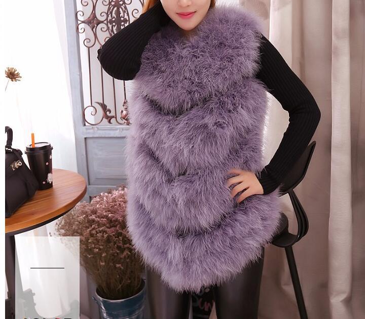 Новое поступление Винтажный стиль настоящий вязаный жилет из меха страуса жилет из натурального меха - Цвет: purple grey