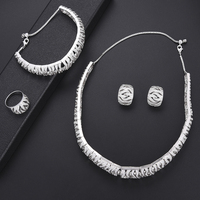 missvikki Office Ladies Jewelry Set 4PCS Dubai Nigerian African Women Noble Sterling Silver Cubic Zirconia For Women Gift