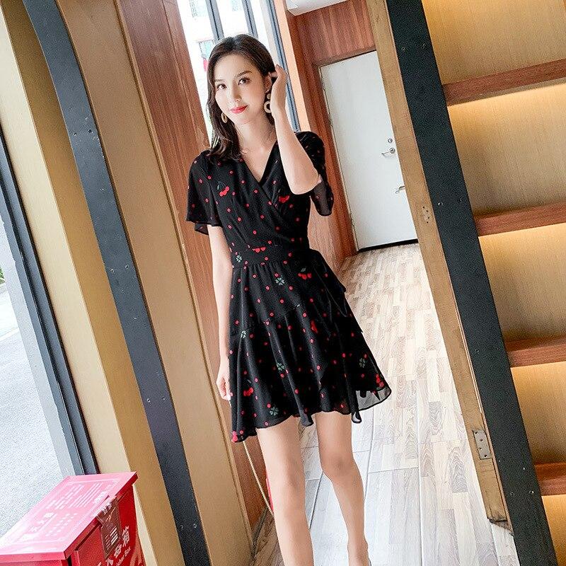 2019 Women Summer V Neck Vintage Boho Long Maxi Chiffon Dress Beach Dress best quality