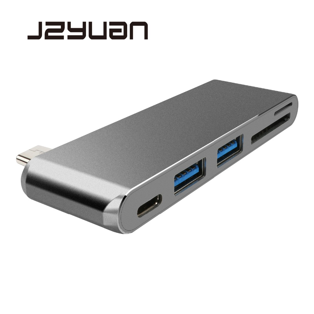JZYuan 5 in 1 USB C HUB Adapter With 2 USB 3.0 Port SD/TF Card Reader Type C Charging Power Delivery For Macbook Pro USB-C HUB