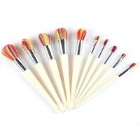 Pro 10Pcs Mermaid Makeup Brush Rainbow Hair Diamond Cosmetic Makeup Brushes Set Eye Shadow Blusher Powder