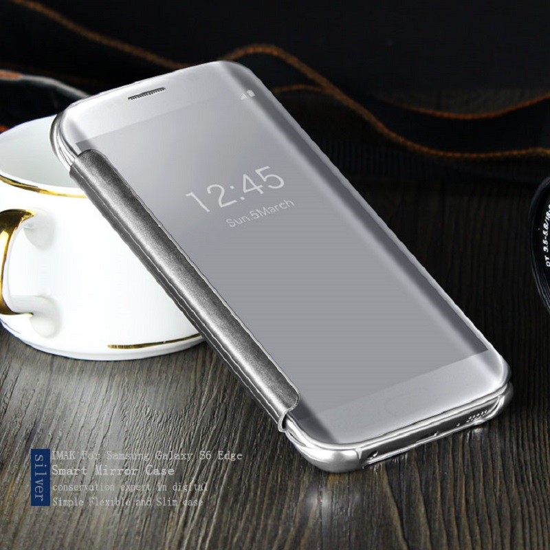 Luxury Plating Plastic Mirror Flip Cases for Samsung Galaxy A3 2016 Clear View Phone Cover for Samsung Galaxy A3 2017 Case