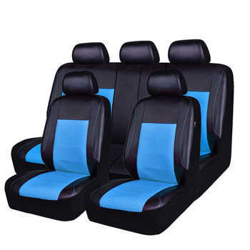 Car-pass Car Seat Covers Red Blue Colors Pu Leather Mesh Cloth Five Seat Car Accessories Universal Car Seat Covers for ford lada