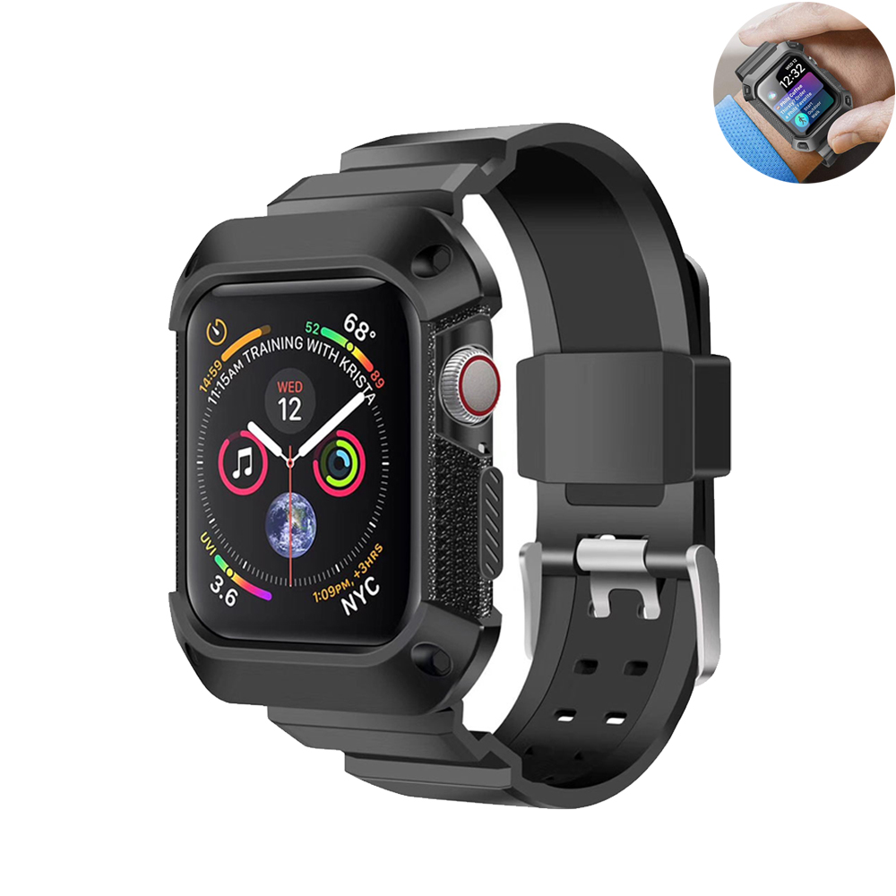Sport strap For Apple Watch band Case44 mm 40mm iwatch Series 4 correa Rugged TPU screen Protective cover + bracelet wrist beltSport strap For Apple Watch band Case44 mm 40mm iwatch Series 4 correa Rugged TPU screen Protective cover + bracelet wrist belt
