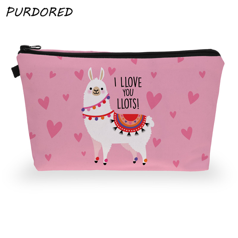 PURDORED 1 Pc Alpaca Cosmetic Bag Women 3D Printing Makeup Bags Travel Cosmetic Organizer Toiletry Bag Neceser  Dropshipping