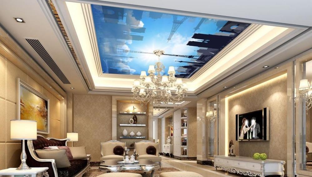 3d立体壁紙カスタム3d天井壁紙青空建物の壁画リビングルーム天井壁画(