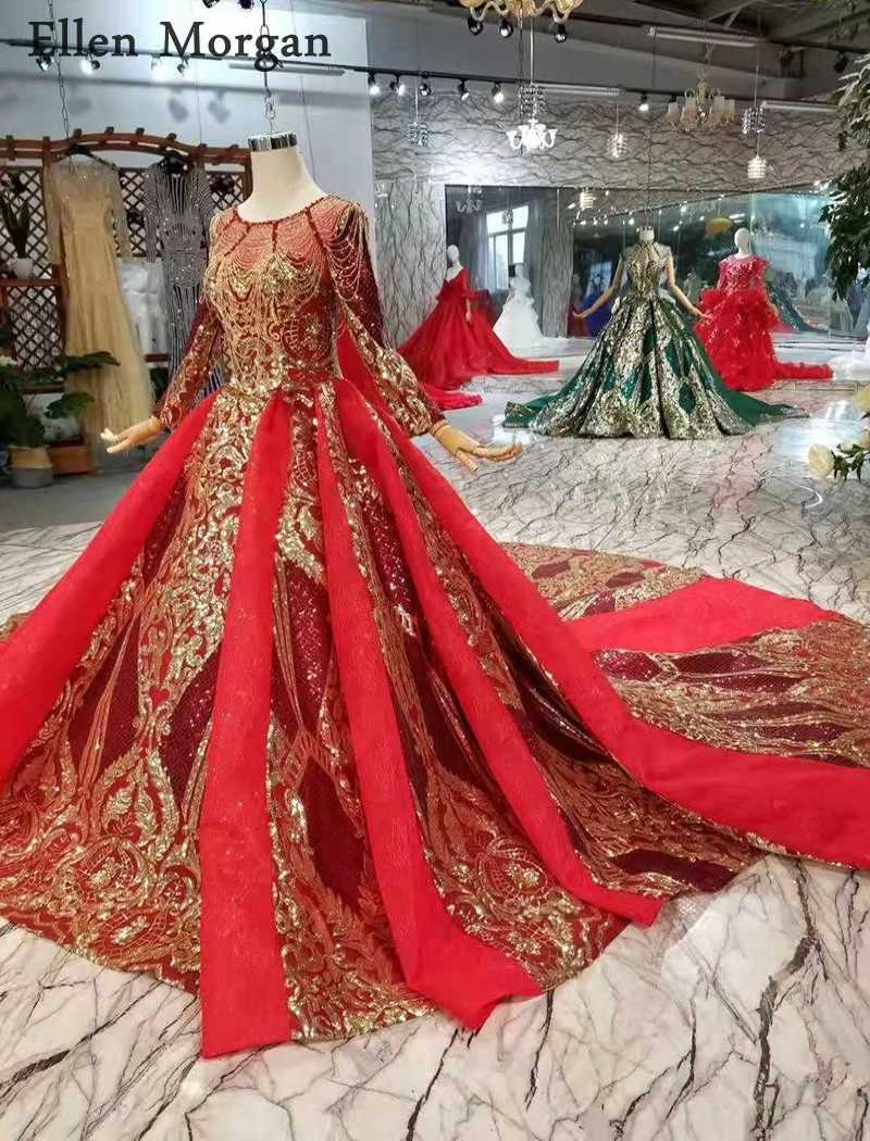 Бордовые, с длинными рукавами Свадебные платья с золотой кружево пышные лодка средства ухода за кожей Шеи Часовня Поезд корсет Роскошные Принцесса Винтаж