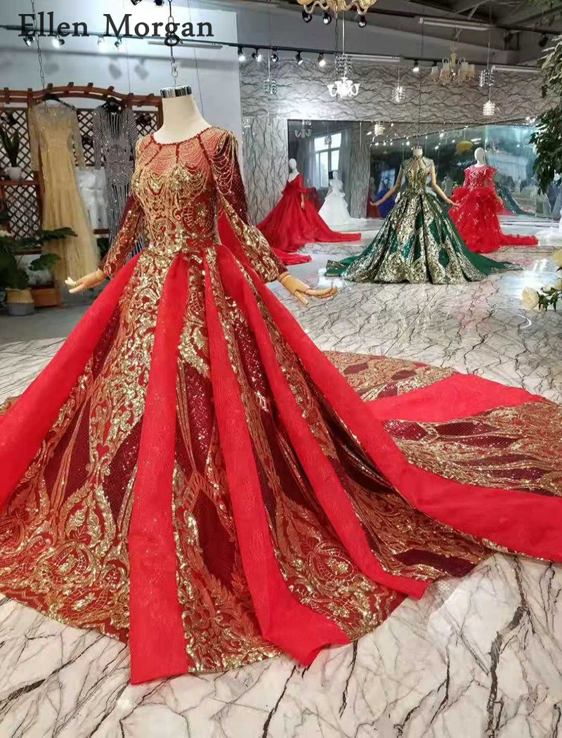 Image 3 - Burgundy Long Sleeves Wedding Dresses with Gold Lace Puffy Boat Neck Chapel Train Corset Luxury Princess Vintage Bridal Gowns-in Wedding Dresses from Weddings & Events