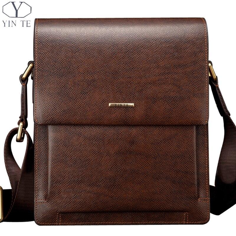 YINTE Fashion Leather Men's Messenger Bags Business Leather Small Shoulder Bag Brown Bags Men Cover HandBags Portfolio T8277-1