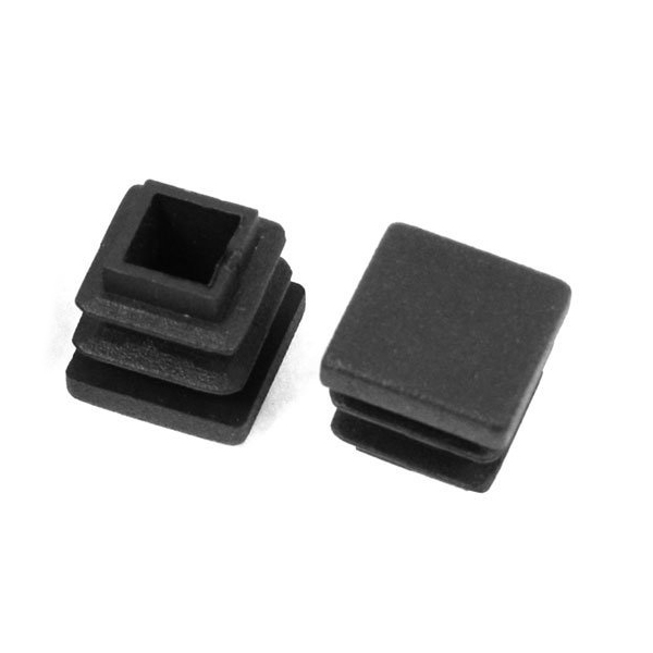 Hot Sale 12 Pc 16mm X 16mm Square Striated Plastic Table End Plugs Inserted Tube Black