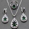 Gota de agua Verde Circón Blanco Crystal 925 Sterling Silver Jewelry Set Para Las Mujeres Pendientes/Colgante/Collar de Cadena/anillo TZ108