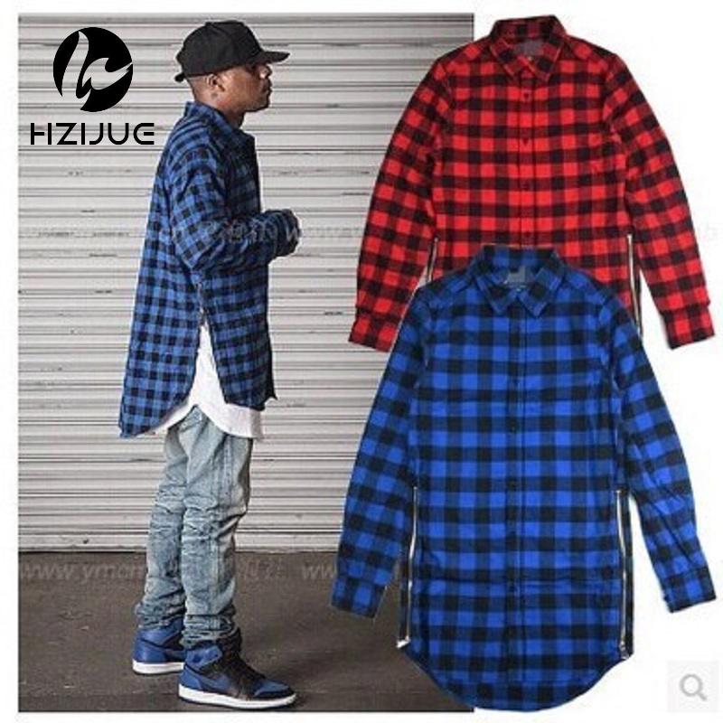 Fashion men plaid zipper long sleeve shirt hip hop for Where to buy cheap plaid shirts