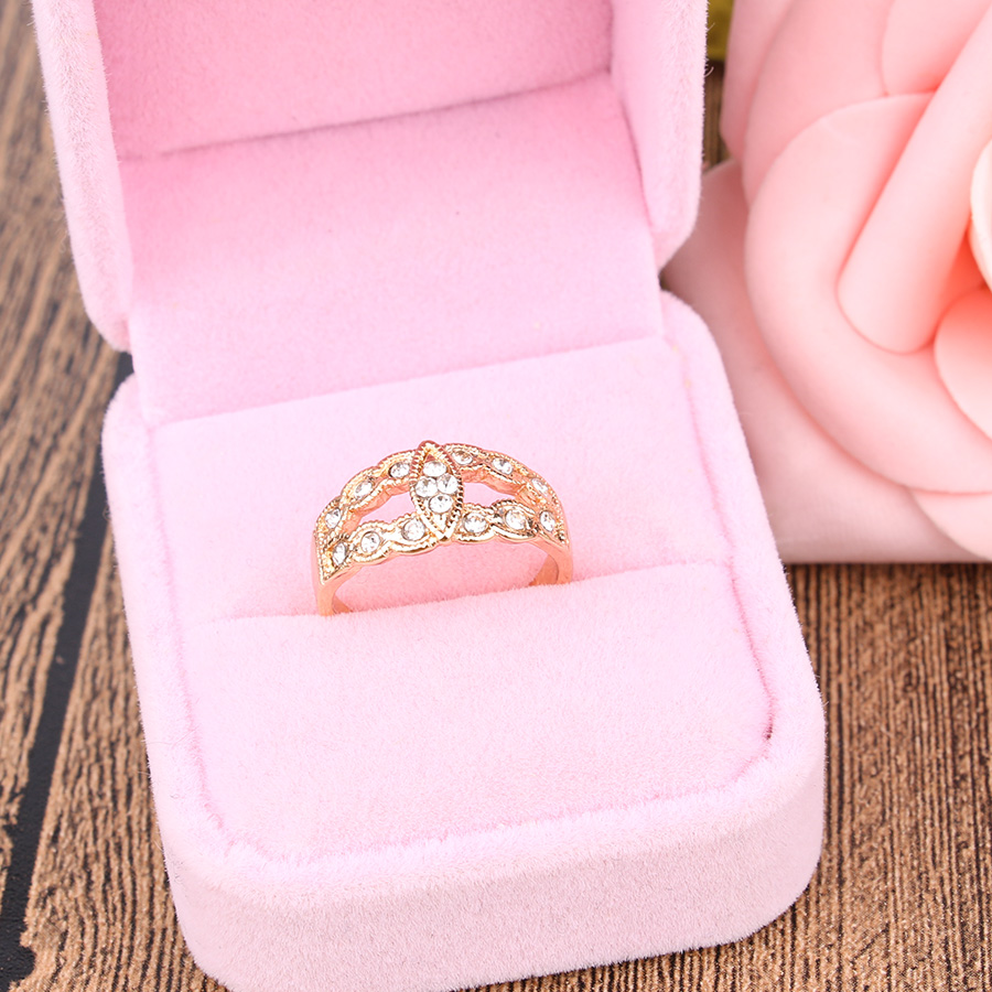 Gold Colour Rhinestone Wedding Ring Vintage Leaf Boho Style Fine ...